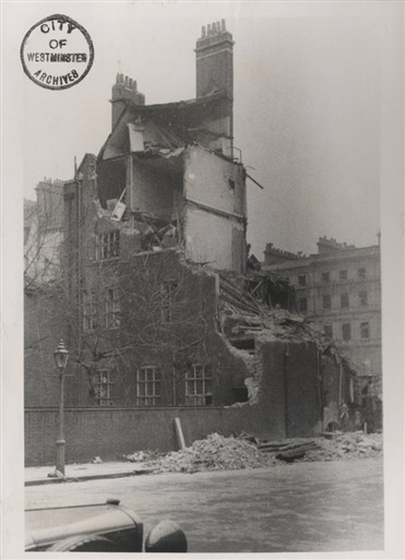 Photo:The bombed French Institute, Queen's Gate - Prince Consort Road, 1944