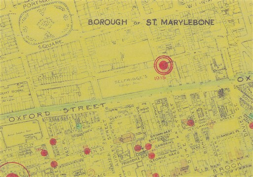 Photo:Bomb Map: V2 strike opposite Selfridges, 1944
