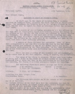 Photo:St Marylebone ARP Incident Report, BBC Broadcasting House, 12 December 1940