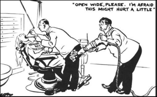 Photo:David Low, 'Open Wide Please. This might hurt a little' Evening Standard (July, 1948)