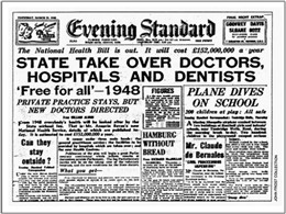Photo:THe NHS made headlines on July 5th 1948 with what many saw was the realsiation of a New Jerusalem