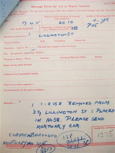 Photo:ARP report, Lillington Street, 17 April 1941