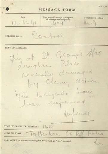 Photo:St Marylebone ARP Message Form, St George's Hall, 12 May 1941